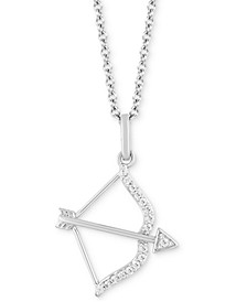 """Bow & Arrow Strength pendant (1/10 ct. t.w.) in Sterling Silver, 16"""" + 2"""" extender"""