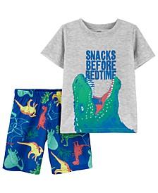 Little Boys 2-Pc. Dinosaur Snacks Pajamas Set