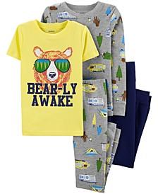 Little Boys 4-Pc. Cotton Bare-ly Awake Pajamas Set