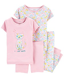 Toddler Girls 4-Pc. Kitten Cotton Pajamas Set