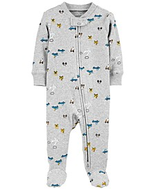 Baby Boys Ribbed Transportation Footed Pajamas