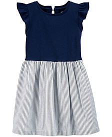 Toddler Girls Stripe-Skirt Bow-Back Dress