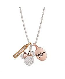 "Fine Silver Plated ""Mom You Are Bowtiful"" Clear Crystal Minnie Mouse Charm Necklace, 16""+2"" Extender"