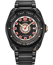 "Eco-Drive Men's Tony Stark ""I Love You 3000"" Black Stainless Steel Bracelet Watch 43mm"