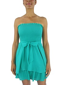 Juniors' Ruched-Top Tie-Waist Dress