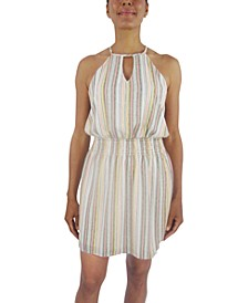 Striped Smocked-Waist A-Line Dress