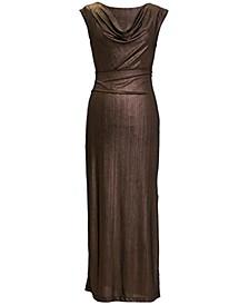 Petite Metallic Cowlneck Gown