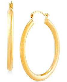 Medium Polished Hoop Earrings in 14k Gold,