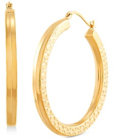 Medium Textured Squared Tube Hoop Earrings in 14k Gold