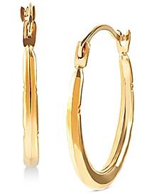 Small Patterned Hoop Earrings in 14k Gold