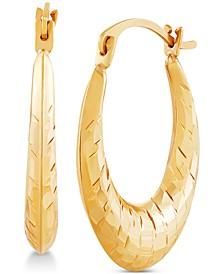 Disco-Cut Oval Hoop Earrings in 14k Gold