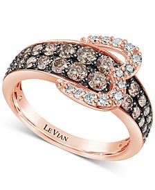 Chocolate Diamond (1-1/20 ct. t.w.) & Nude Diamond (1/5 ct. t.w.) Heart Buckle Statement Ring in 14k Rose Gold