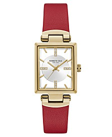 Ladies Transparency Rectangular North - South Red Genuine Leather Strap Watch 25mm