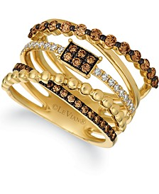 Chocolatier® Chocolate Diamonds® (3/4 ct. t.w.) & Vanilla Diamonds® (1/5 ct. t.w.) Statement Ring in 14k Gold