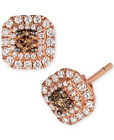Chocolatier® Chocolate Diamond® (1/6 ct. t.w.) & Vanilla Diamonds® (1/4 ct. t.w.) Halo Stud Earrings in 14k Rose Gold