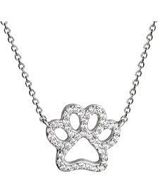 """Cubic Zirconia Paw 18"""" Pendant Necklace in Sterling Silver, Created for Macy's"""
