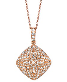 "Vanilla Diamonds® Square 18"" Pendant Necklace (7/8 ct. t.w.) in 14k Rose Gold"