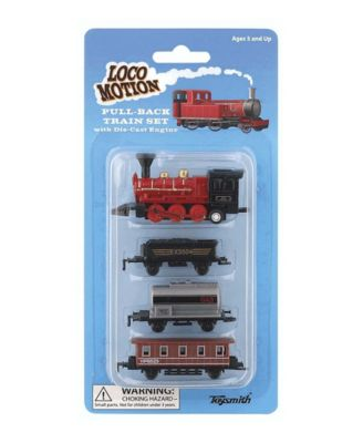Toysmith Loco Motion Mini Pull-Back Train Set with Die-Cast Engine Assorted Styles