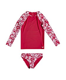 Big Girls Enjoying Waves Rashguard Swim Set