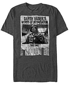 Men's Star Wars Darth Vader's Words of Intimidation Poster Short Sleeve T-shirt