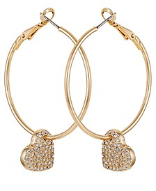 Gold-Tone Pavé Heart Charm Hoop Earrings