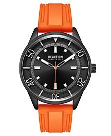 Men's Dress Sport Round Orange Silicon Strap Watch 46mm