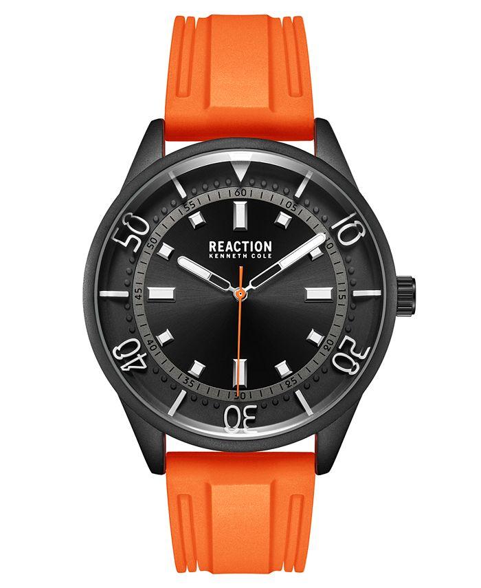 Kenneth Cole Reaction - Men's Dress Sport Round Orange Silicon Strap Watch 46mm