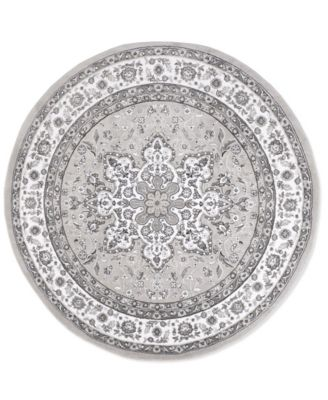 """Haven Lane Hal06 Gray and Ivory 7'10"""" x 7'10"""" Round Rug"""