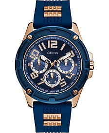 Men's Rose Gold-Tone Stainless Steel & Blue Silicone Strap Watch 46mm