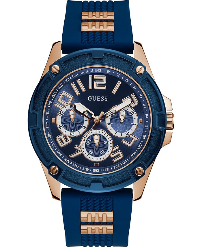 GUESS - Men's Rose Gold-Tone Stainless Steel & Blue Silicone Strap Watch 46mm