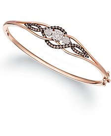 Chocolate Diamond (1/5 ct. t.w.) & Vanilla Diamond (3/8 ct. t.w.) Bangle Bracelet in 14k Rose Gold