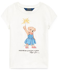 Toddler Girls Sparkler Bear Cotton T-Shirt