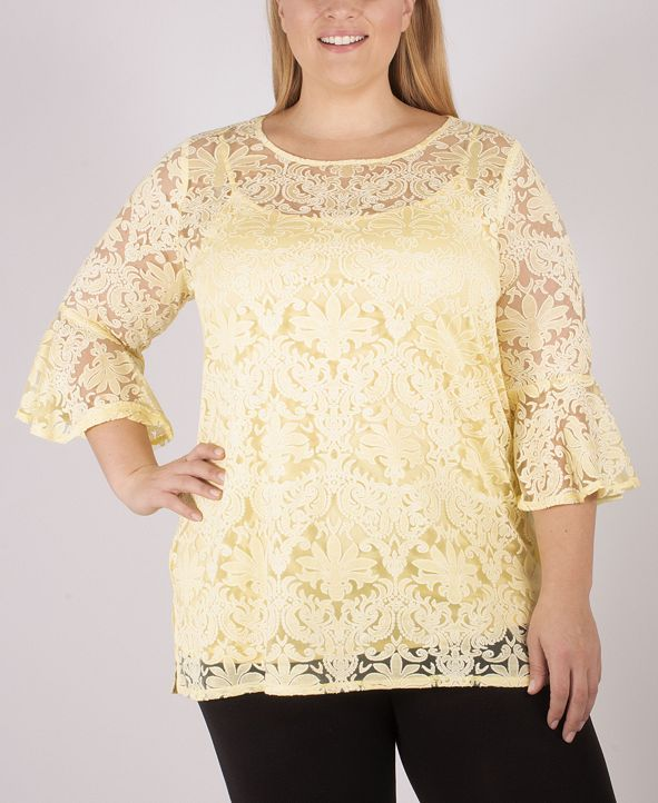 NY Collection Women's Plus Size Lace Tunic