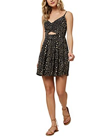 Juniors' Karleen Ditsy Printed Keyhole Dress
