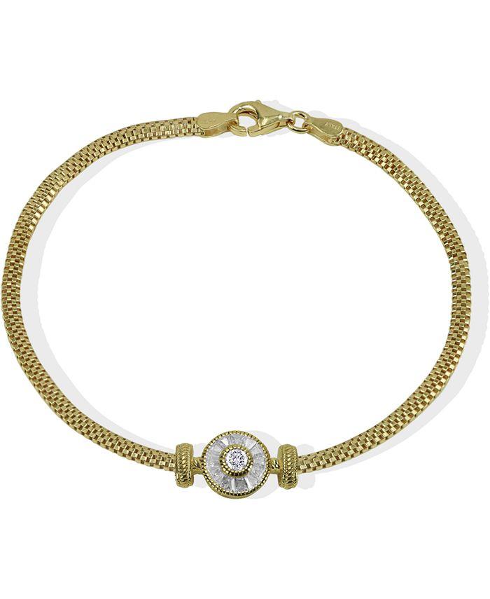 Argento Vivo - Cubic Zirconia Link Bracelet in 18k Gold-Plated Sterling Silver