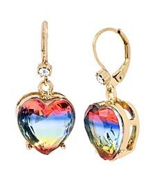 """Rainbow Heart Stone Drop Earrings in Gold-tone Metal, 1.25"""""""