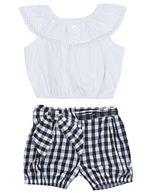 Baby Girls 2-Pc. Ruffled Top & Gingham-Print Shorts Set