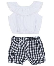 Baby Girls 2-Pc. Ruffled Top & Gingham-Print Shorts Set