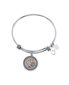 """Mother Daughter"" Double Heart Crystal Charm Expandable Bangle Bracelet in Stainless Steel & Rose Gold Tone Plated Charms"