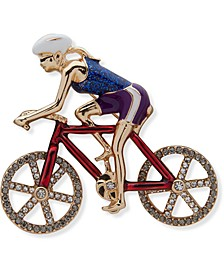 Gold-Tone Pavé Red, White & Blue Bicyclist Pin, Created for Macy's