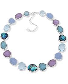 "Silver-Tone Multi-Stone Collar Necklace, 16"" + 3"" extender"