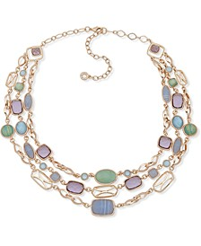 "Gold-Tone Multi-Stone Triple-Row Statement Necklace, 16"" + 3"" extender"