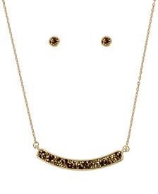 Gold-Tone Sprinkle Stone Bar Pendant Necklace Stud Earrings Set