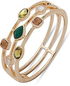 Gold-Tone Stone & Cork Triple-Row Bangle Bracelet