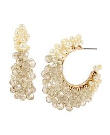 New York Woven Imitation Pearl Hoop Earrings