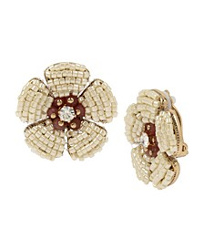 New York Woven Beaded Flower Stud Clip-On Earrings