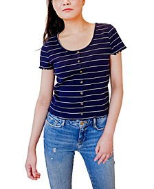 Juniors' Striped Cropped Lettuce-Edge Top