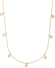 "Gold-Tone Heart & Cubic Zirconia Charm Station Necklace, 36"" + 3"" extender"