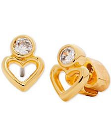 Gold-Tone Heart & Cubic Zirconia Stud Earrings