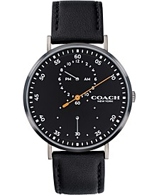 Men's Charles Black Leather Strap Watch 41mm